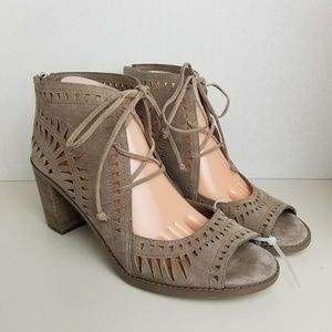 Vince Camuto Tarita Taupe Suede Cutout Sandal 10.5